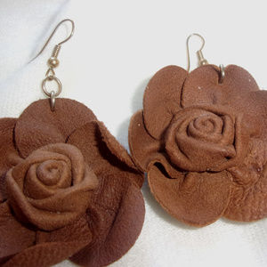Jewelry - Leather rose brown earrings